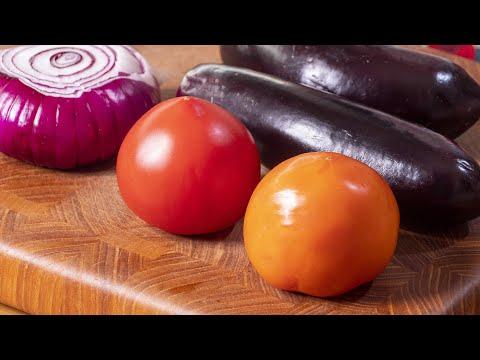 Порадуйте себя всего за 10 минут. Армянский салат с баклажанами и свежими овощами.