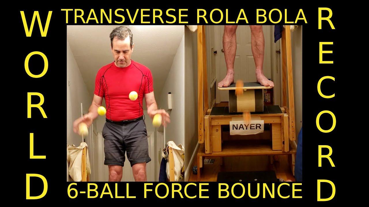 6-Ball Force Bounce Juggling Transverse Rola Bola Balance World Record 2 min 19 sec WR 230