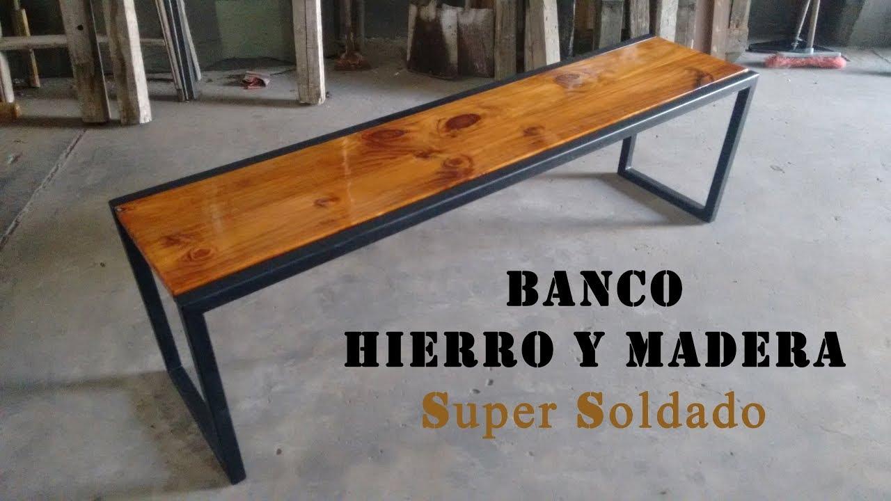 Banco con estructura de hierro y tapa de madera youtube - Como hacer bancos de madera ...
