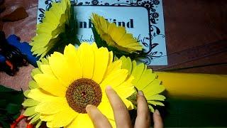 Sunflower crepe paper - Hướng dẫn làm hoa hướng dương giấy nhún (phần 1)