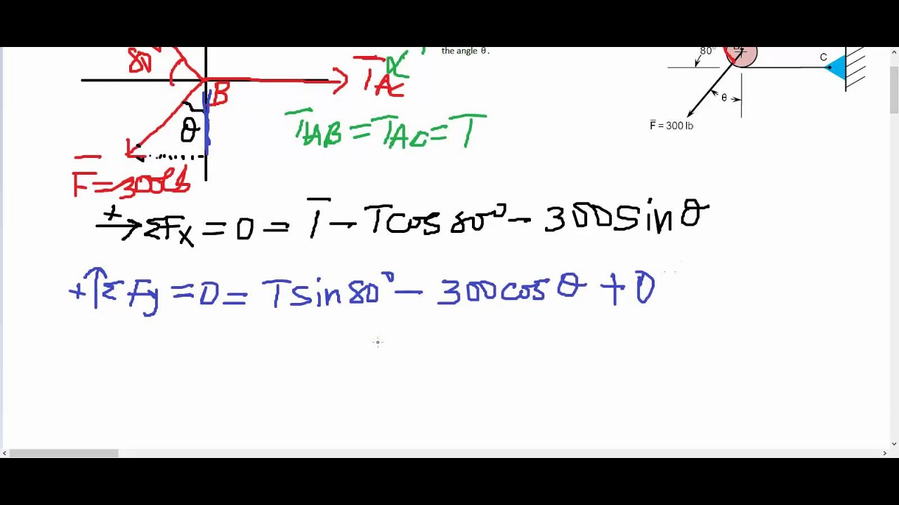 Tension Of Pulley Problems : Statics equillibrium problem solving for tension in