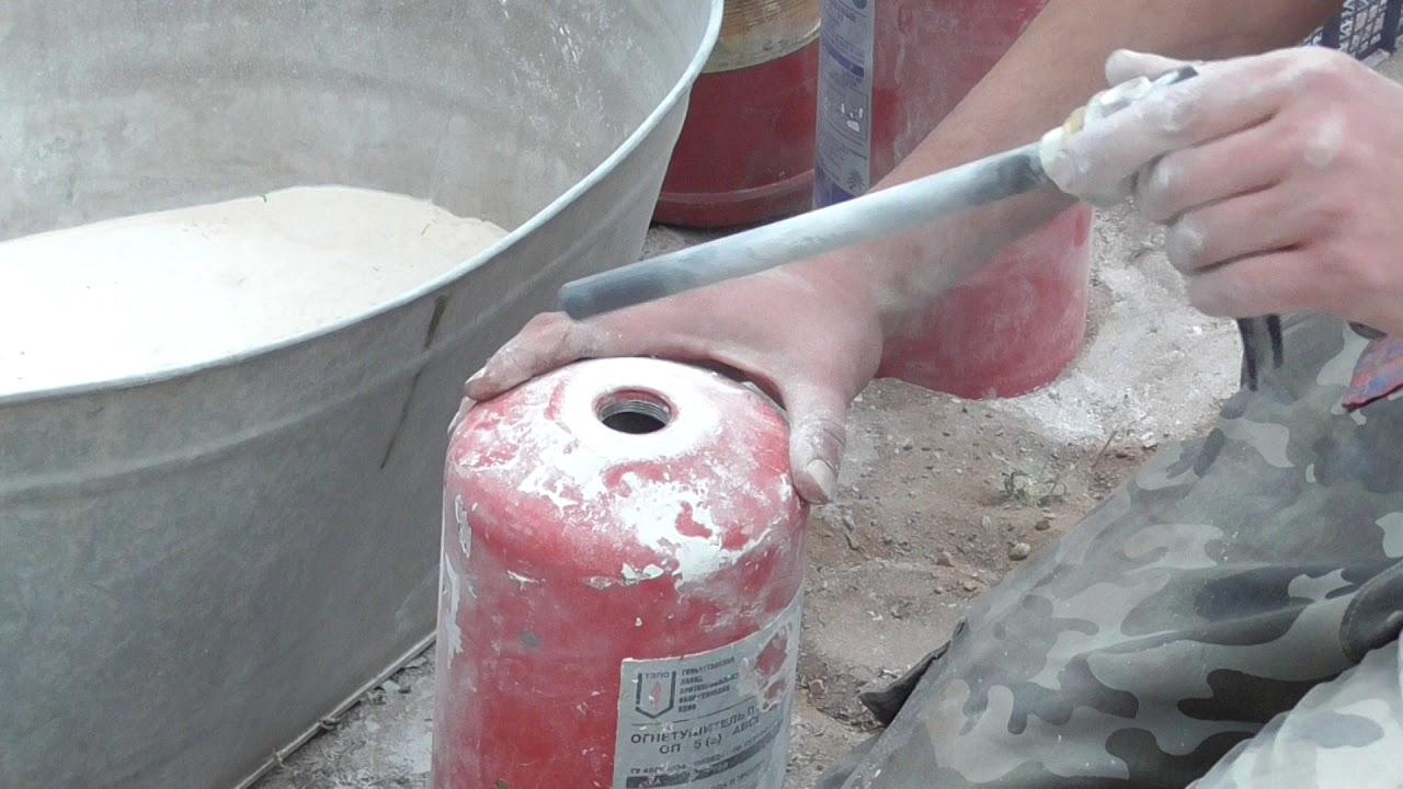 Как разрядить огнетушитель разобрать разрезать распилить порошковый огнетушитель ОП