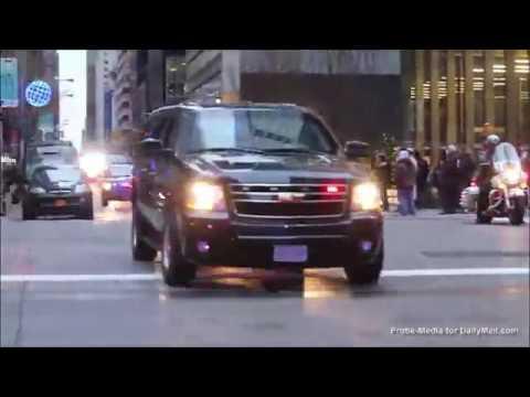Trump's massive motorcade passes Trump Tower on way to Wisconsin