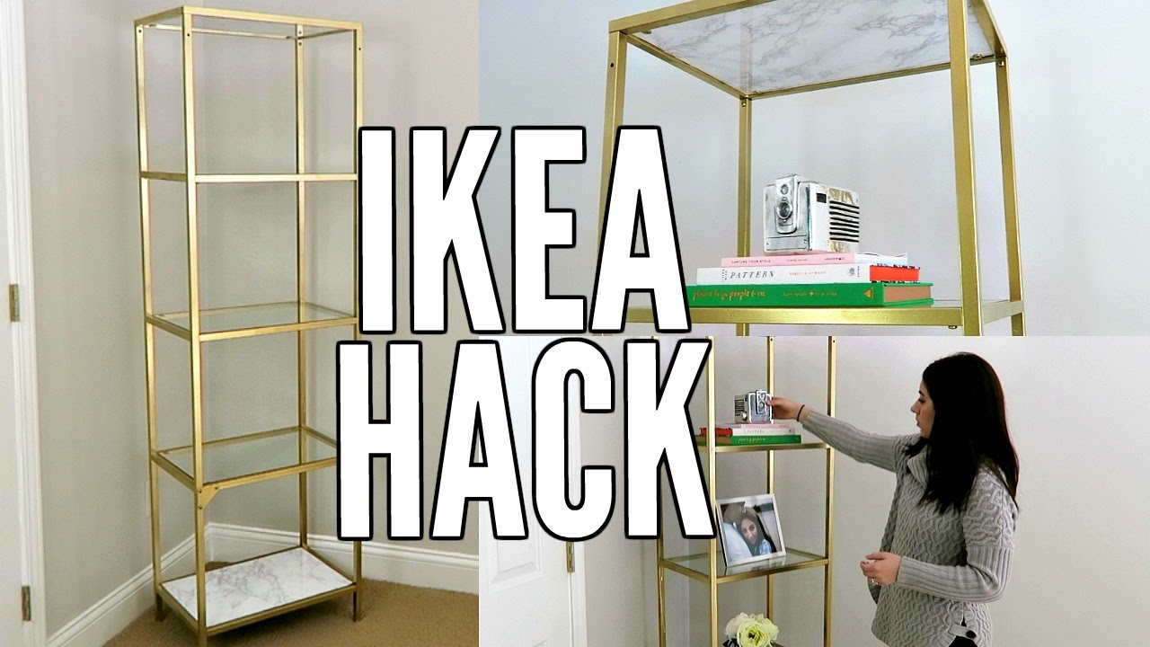 Ikea hack gold and white marble diy ikea vittsjo shelf unit