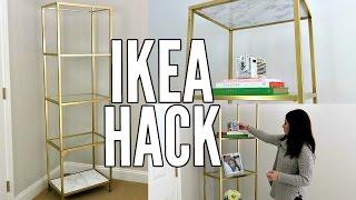 IKEA HACK! | GOLD AND WHITE MARBLE DIY | IKEA VITTSJO SHELF UNIT