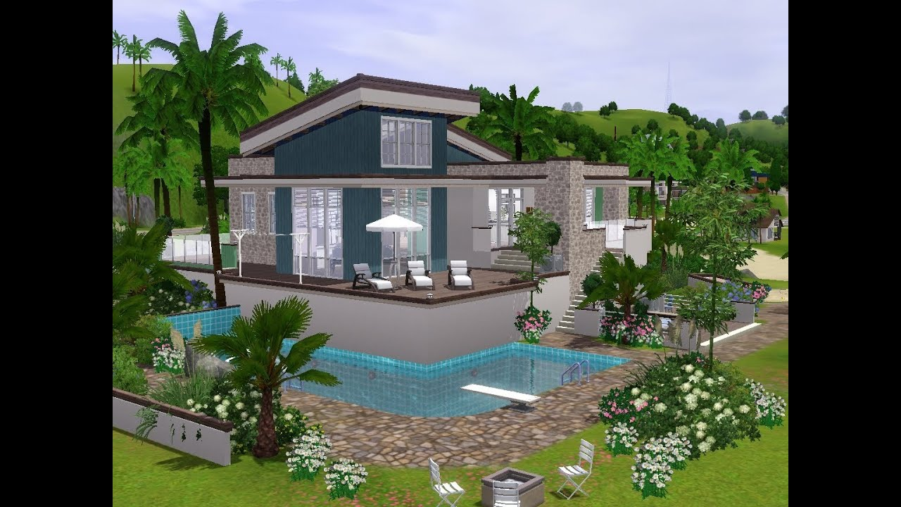 The sims 3 building a modern holiday house youtube for Modern house 3
