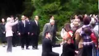Big surprise when the emperor and the empress of Japan come out.