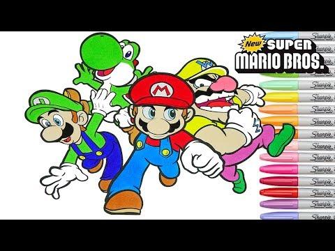 Super Mario Bros Coloring Book Pages Nintendo Luigi Yoshi Wario Rainbow Splash