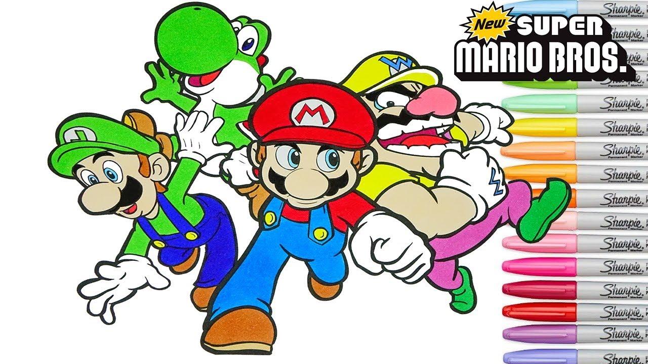 - Super Mario Bros Coloring Book Pages Nintendo Luigi Yoshi Wario