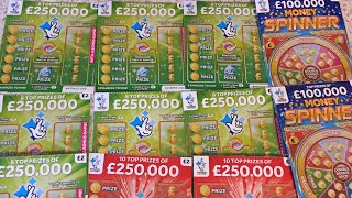 Scratch Cards, NEW £250,000 GREEN ,250,000 RED ,MONEY SPINNER £100K,Bingo 🤞🤞