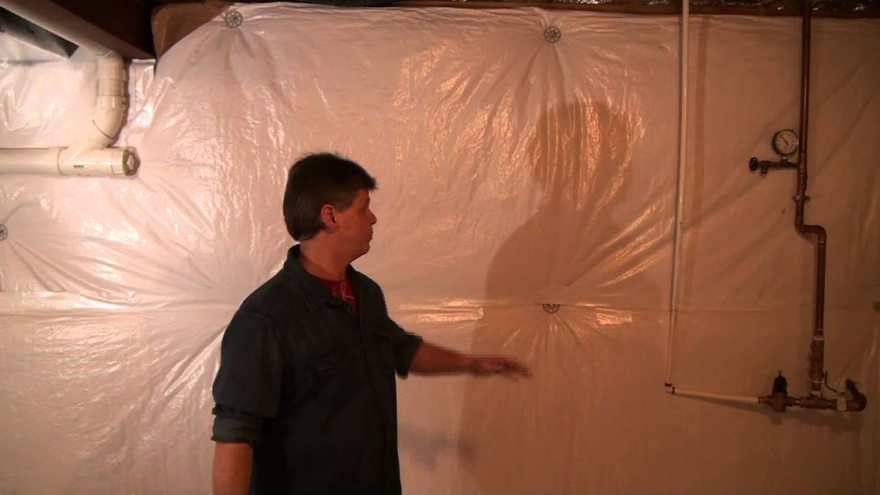 Basement concrete wall insulation wrap youtube for Blanket insulation basement walls