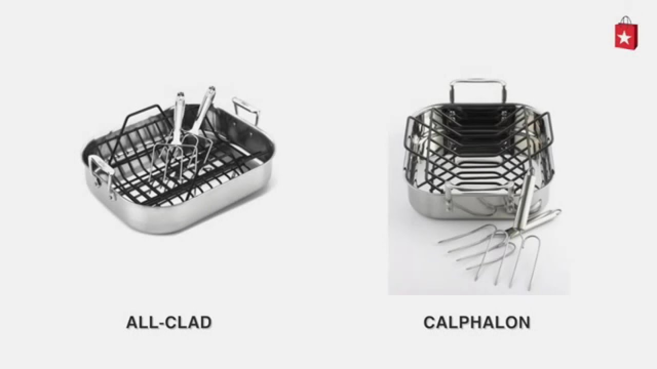 calphalon triply stainless steel 14 in roaster with roasting rack and lifters comparison video - Calphalon Tri Ply Stainless Steel
