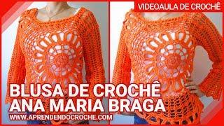 Repeat youtube video Blusa de Crochê Ana Maria Braga - Aprendendo Croche