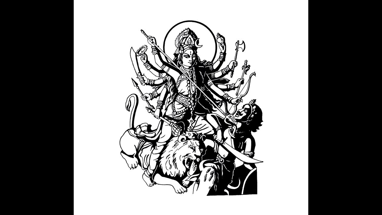 How to draw goddess durga maa full body pencil drawing step by step