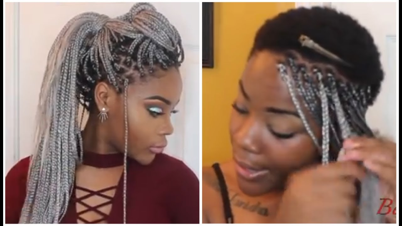 Box Braids On Extremely Short 4c Hair Waist Length