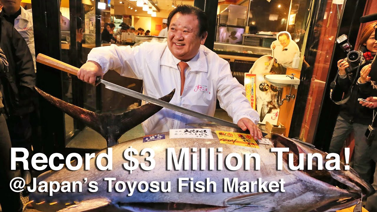 Toyosu Fish Market Tuna Auction - Bluefin Tuna sells for record $3 million!