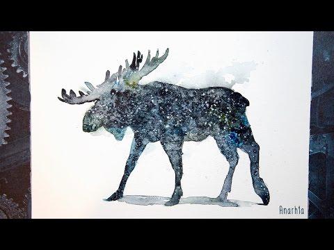 Watercolor Stellar moose