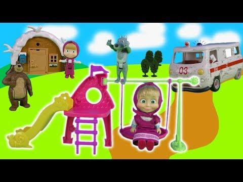 mascha-und-der-bär-spielzeug:-mascha's-haus,-bären-haus,-puppen-und-spielplatz-|-kinderspielzeug