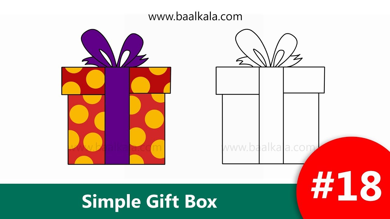 How To Draw Simple Gift Box Or Present Box Drawing Easy Step By