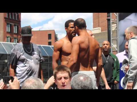 JAMES DeGALE v ANDRE DIRRELL TEMPERS FLAIR @ HEATED WEIGH IN / BOSTON - DeGALE v DIRRELL