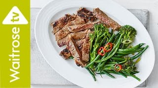 Miso-glazed Steak with Chilli and Lime Greens  | Waitrose