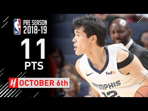 Yuta Watanabe Full Highlights Grizzlies vs Pacers 2018.10.06 - 11 Points, CLUTCH!