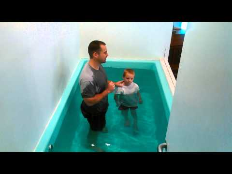 One of our AWANA kids getting baptized today
