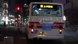 西鉄バス路線車(土井団地行き)・東中洲バス停を発車