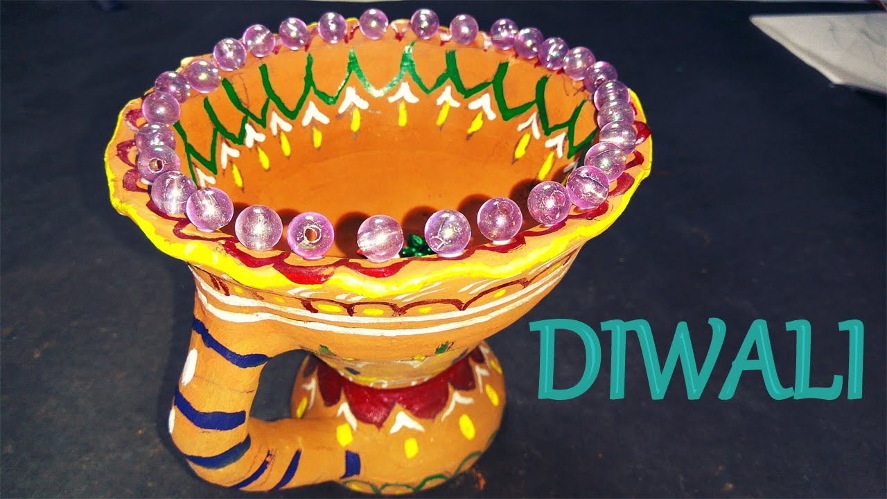 How to make diya decoration ideas for dipawali christmas for Diya decoration youtube