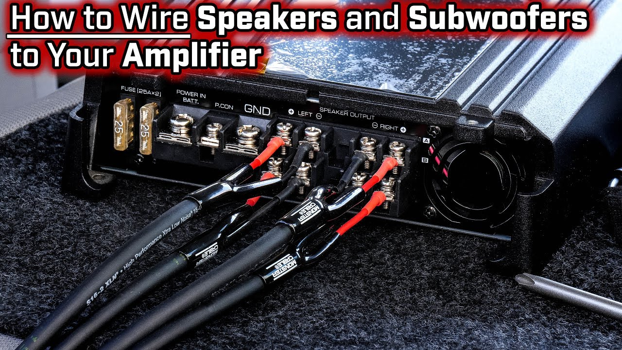 how to wire speakers and subwoofers to your amplifier 2 3 4 and 5 channel bridged mode [ 1280 x 720 Pixel ]