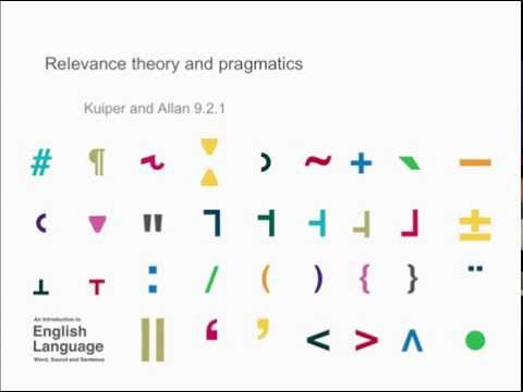 Chapter 9.2.1: Relevance theory and pragmatics - Kuiper and Allan