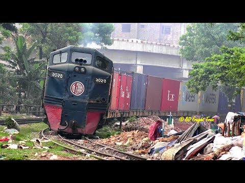 Bangladeshi Freight Train Passing Malibagh Rail Crossing, Dhaka, Bangladesh