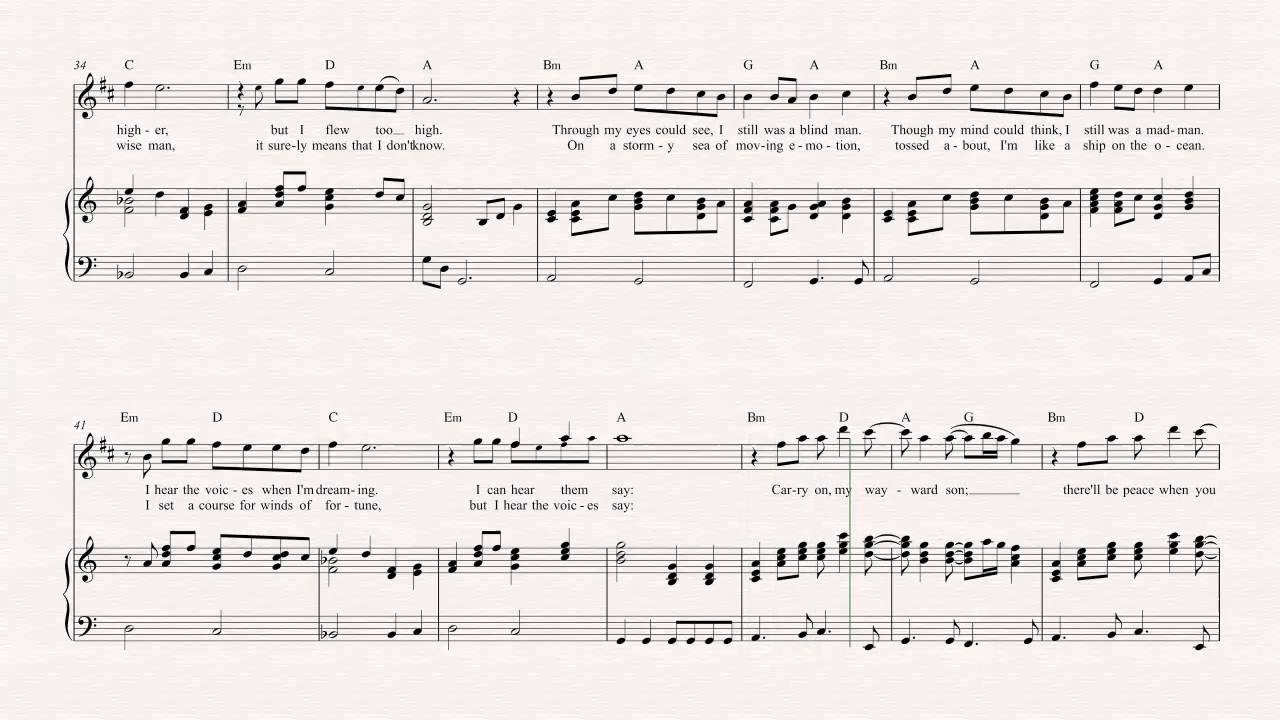 Clarinet Carry On Wayward Son Kansas Sheet Music Chords