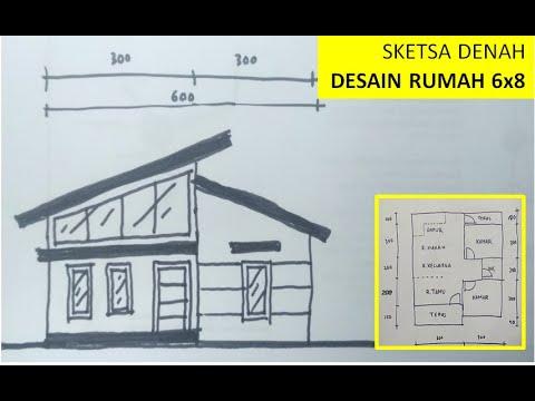 Cara Membuat Sketsa Sederhana Desain Denah Rumah 6x8 Youtube
