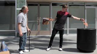 Magician Throws Away Homeless Mans Food!