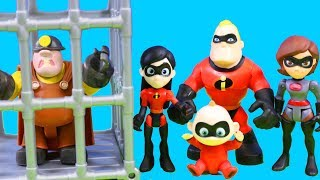 The Incredibles 2 visit McDonalds Underminer Elastigirl Violet Jack-Jack Eye Laser Saves The Day!