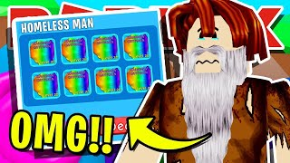 GIVING HOMELESS MAN *FREE* SECRET PETS & COMPLETE MAKEOVER IN ROBLOX BUBBLEGUM SIMULATOR! (Er weinte)