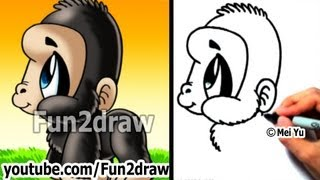 Easy Drawing Lessons - How to Draw Monkeys + Apes - Gorilla - Cute Drawings - Fun2draw