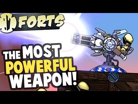 Forts - PLASMA LASER! Most Powerful Weapon Destroys Forts - Forts Multiplayer Gameplay