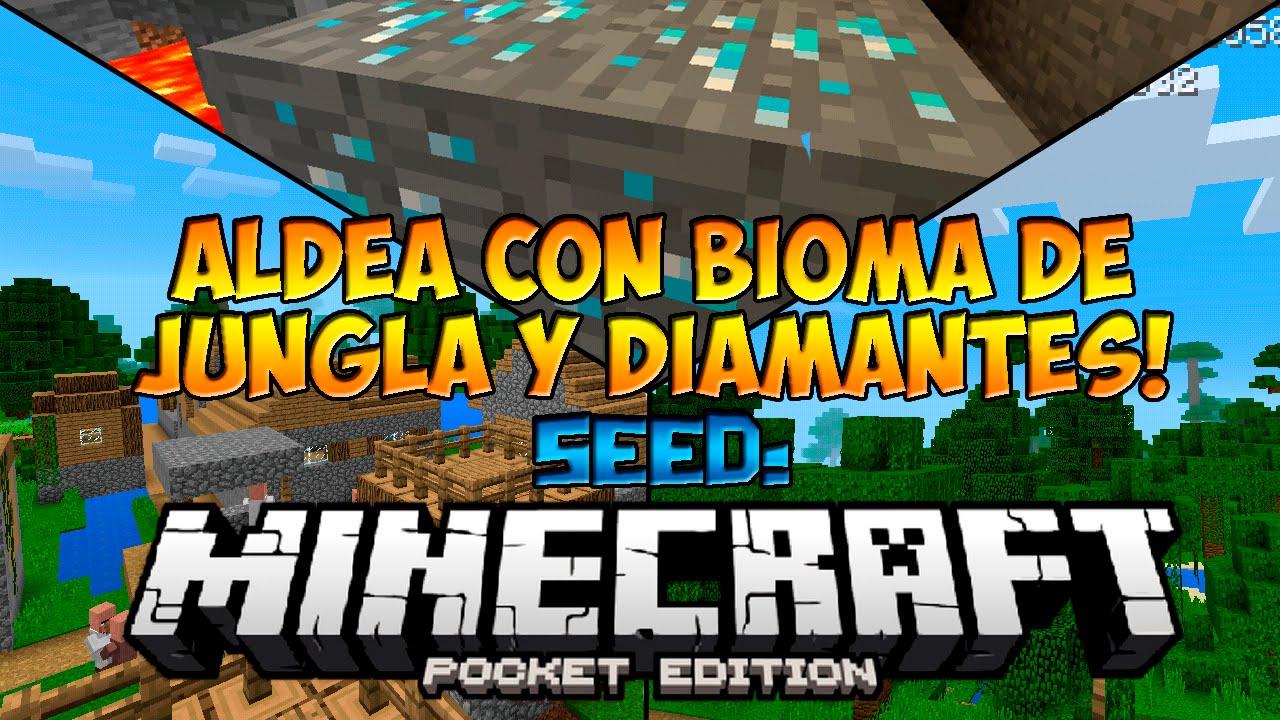 Seeds Para Minecraft Pe 0 14 0  Seed Con Aldeas  Bioma De Jungla Y Diamantes
