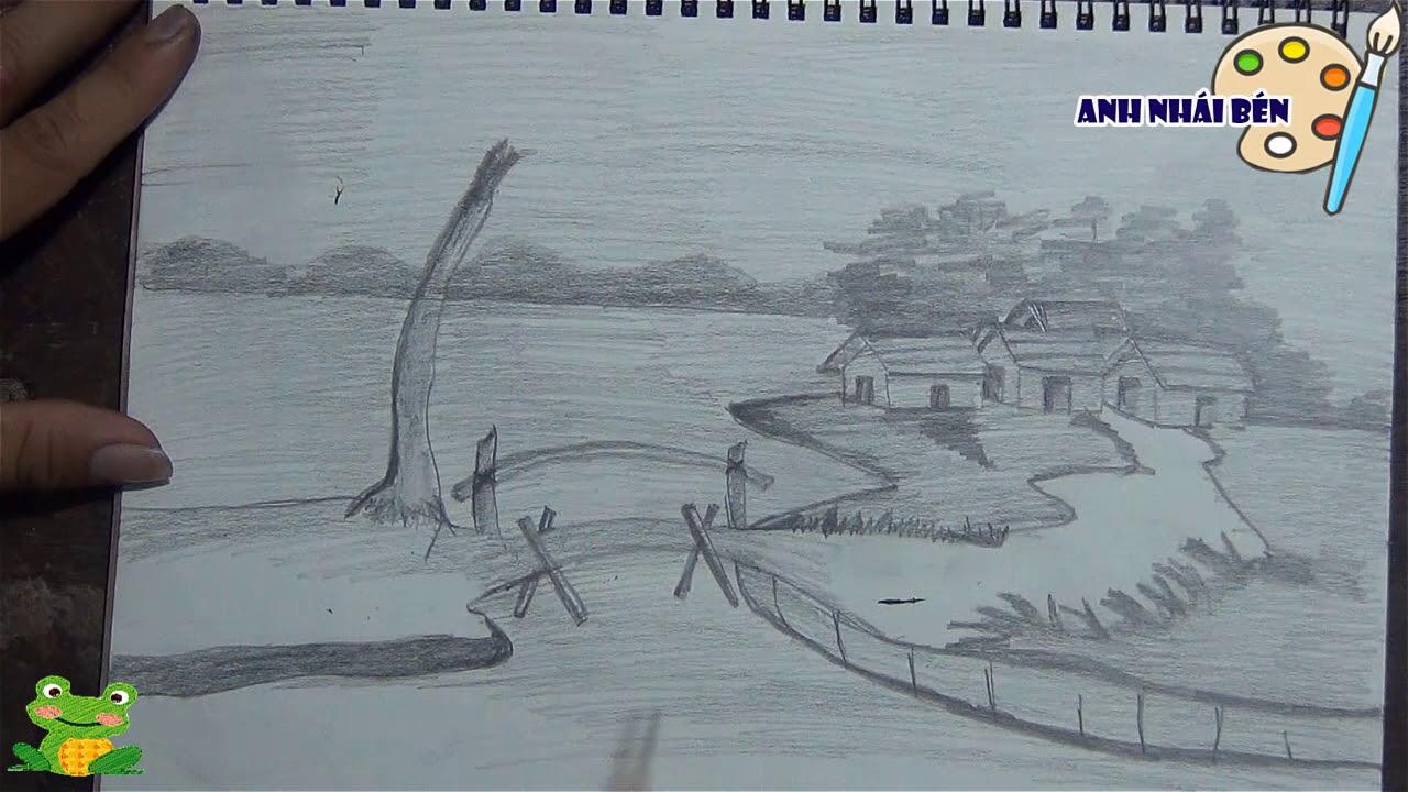 Vẽ chì Tranh Phong Cảnh Quê Hương