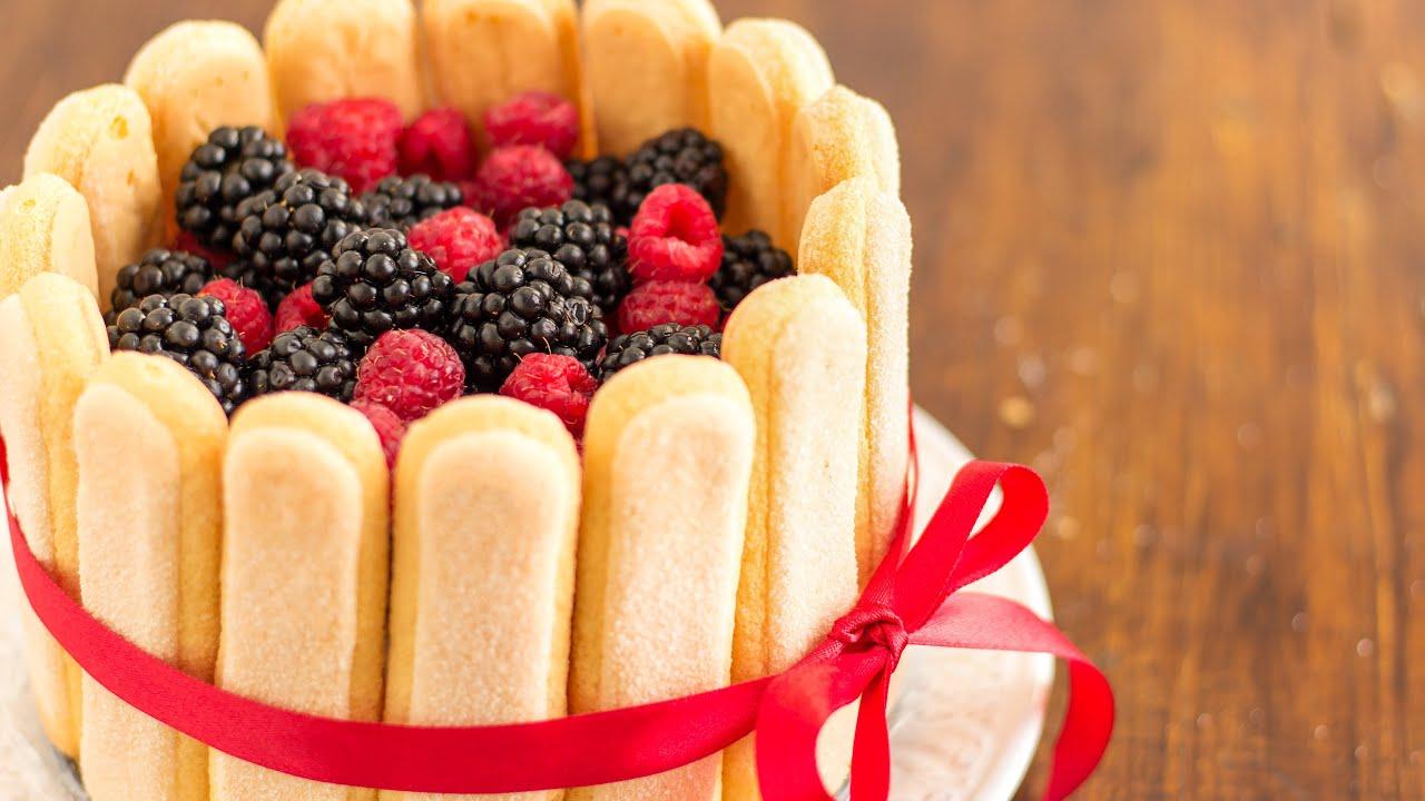 No Bake Mixed Berry Charlotte Cake Recipe Happyfoods Youtube