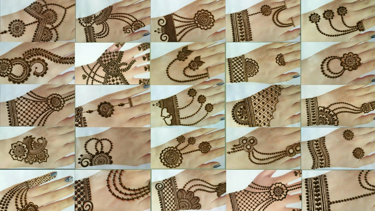 Top 50 diwali special collection of back hand mehndi designs | Jewellery style back hand mehndi 2020