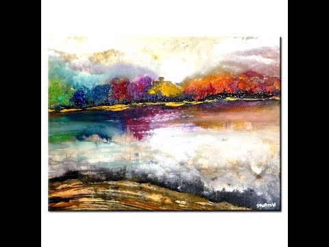 MAGICAL LANDSCAPE ABSTRACT PAINTING, EASY way to paint an AB