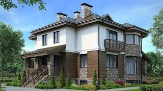 Проект дома в европейском стиле из теплой керамики. Дом с цокольным этажом. Ремстройсервис М-220