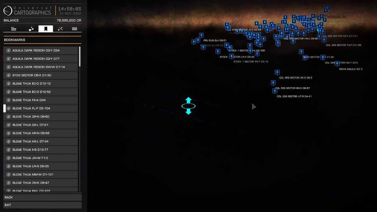 Elite Dangerous Neutron star map, the highway to the core (fist