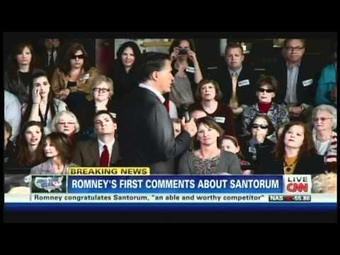 Mitt Romney on Rick Santorum campaign suspension (April 10, 2012)