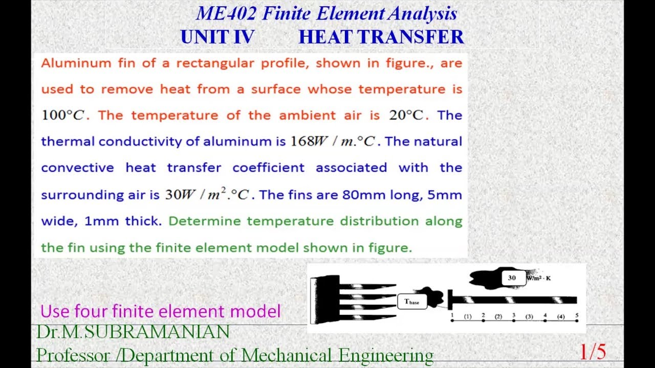 rectangular fin heat transfer problem solving by finite element method