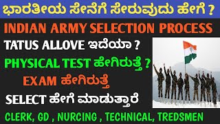 Indian army selection process in kannada   how to join indian army in kannada   Indian army