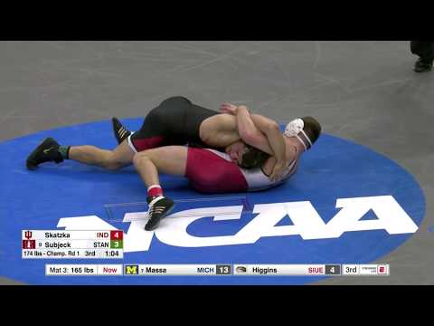 2018 NCAA Wrestling 174lbs: Keaton Subjeck (Stanford) Dec Devin Skatzka (Indiana)